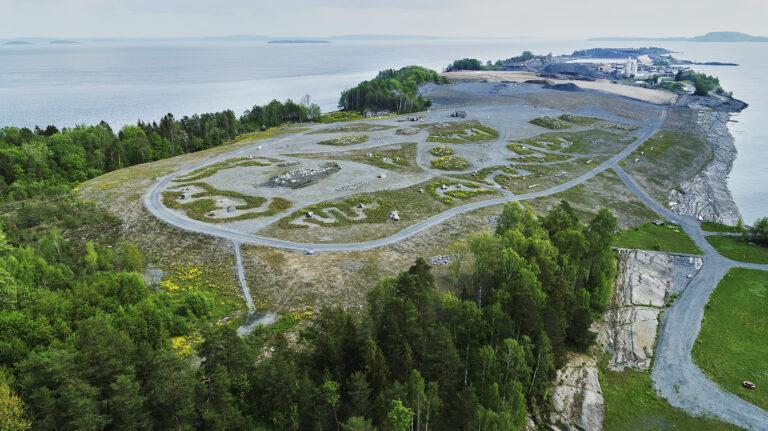 Flyfoto av Langøya.